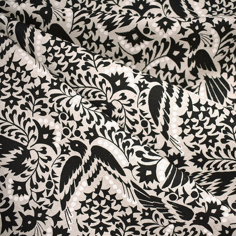 Japanese Artistic Lino Birds Linen Blend Shirting Black