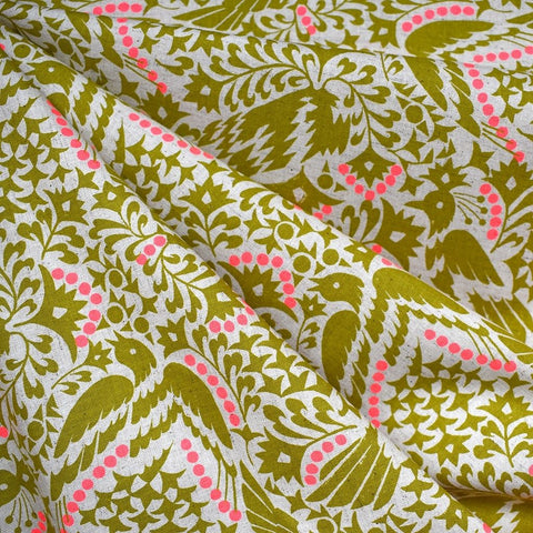 Japanese Artistic Lino Birds Linen Blend Shirting Citron