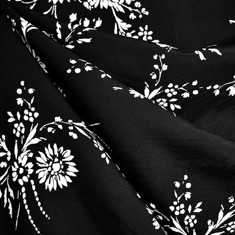 Scrolling Sunflower Rayon Crepe Black/White
