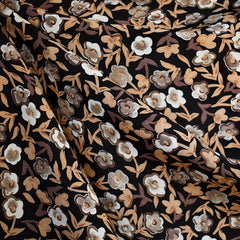 Autumn Sketch Floral Rayon Crepe Mocha/Black - Fabric - Style Maker Fabrics