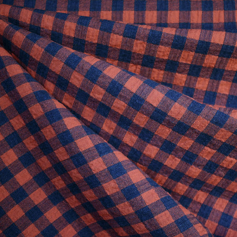 Shepard Plaid Crinkle Cotton Shirting Rust/Navy