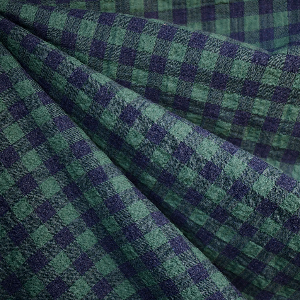 Shepard Plaid Crinkle Cotton Shirting Emerald/Blue - Fabric - Style Maker Fabrics
