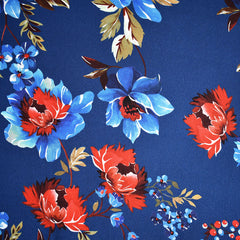 Romantic Vine Floral Rayon Crepe Royal/Red - Fabric - Style Maker Fabrics