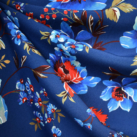 Romantic Vine Floral Rayon Crepe Royal/Red