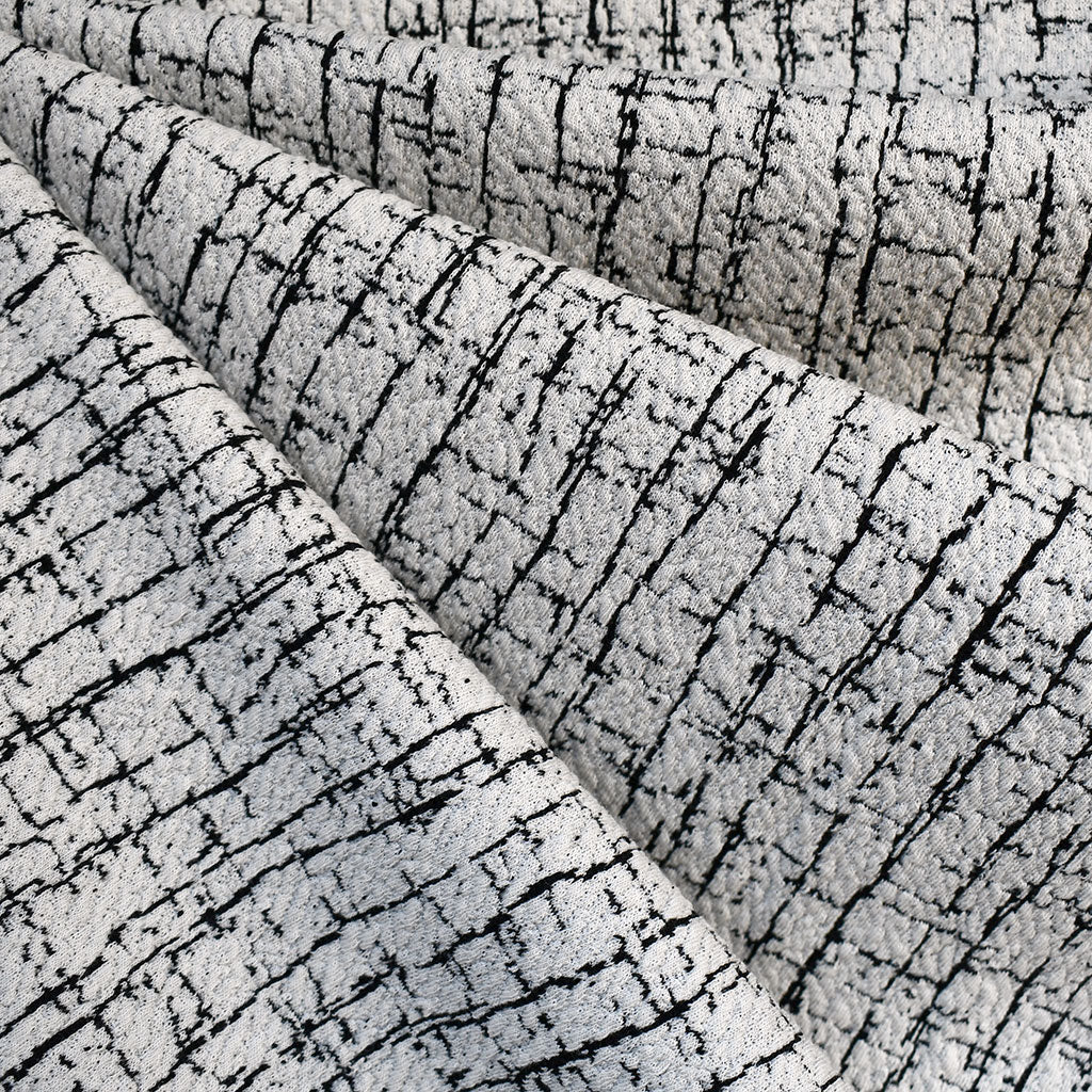 Distressed Texture Double Knit Solid Vanilla/Black - Fabric - Style Maker Fabrics