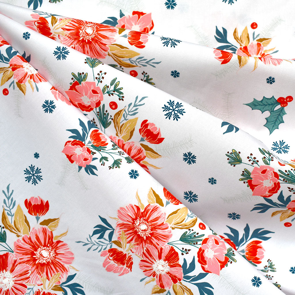Cozy & Joyful Frosted Roses Premium Cotton White - Fabric - Style Maker Fabrics