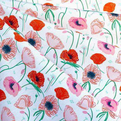 Flowerette  Poppy Hill Premium Cotton White/Coral