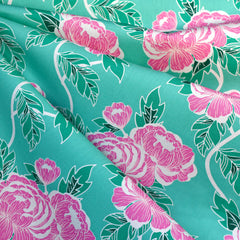 Flowerette  Flourishing Peonies Premium Cotton Aqua - Fabric - Style Maker Fabrics