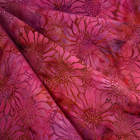 Tonal Sunflower Rayon Batik Cranberry