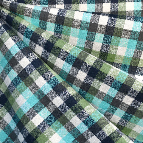 Mammoth Flannel Mini Check Plaid Sage/Aqua