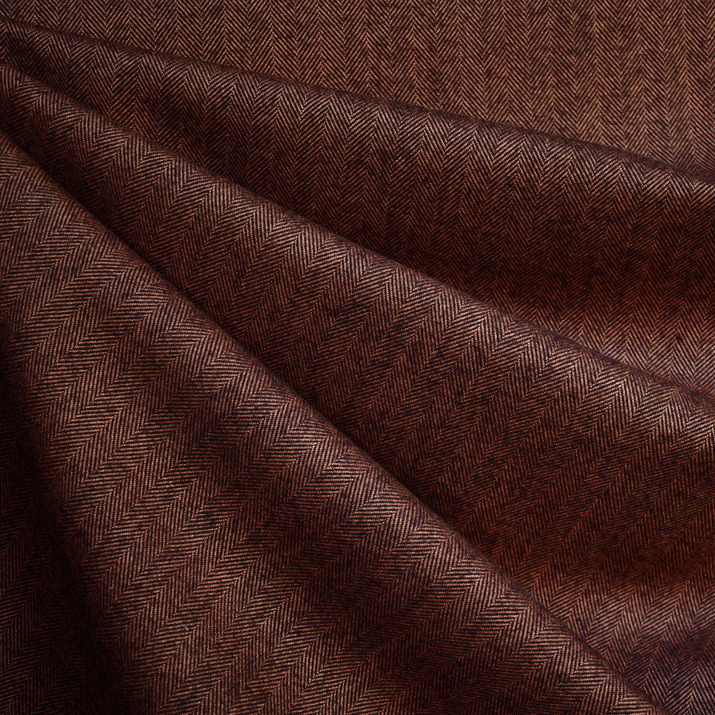 Shetland Flannel Mini Herringbone Rust - Fabric - Style Maker Fabrics