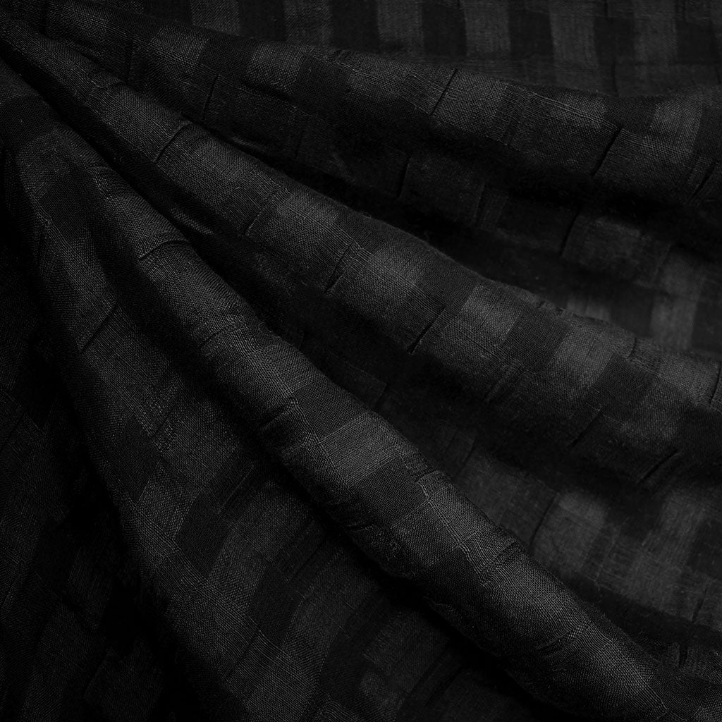 Shadow Check Linen Blend Crinkle Shirting Black - Fabric - Style Maker Fabrics