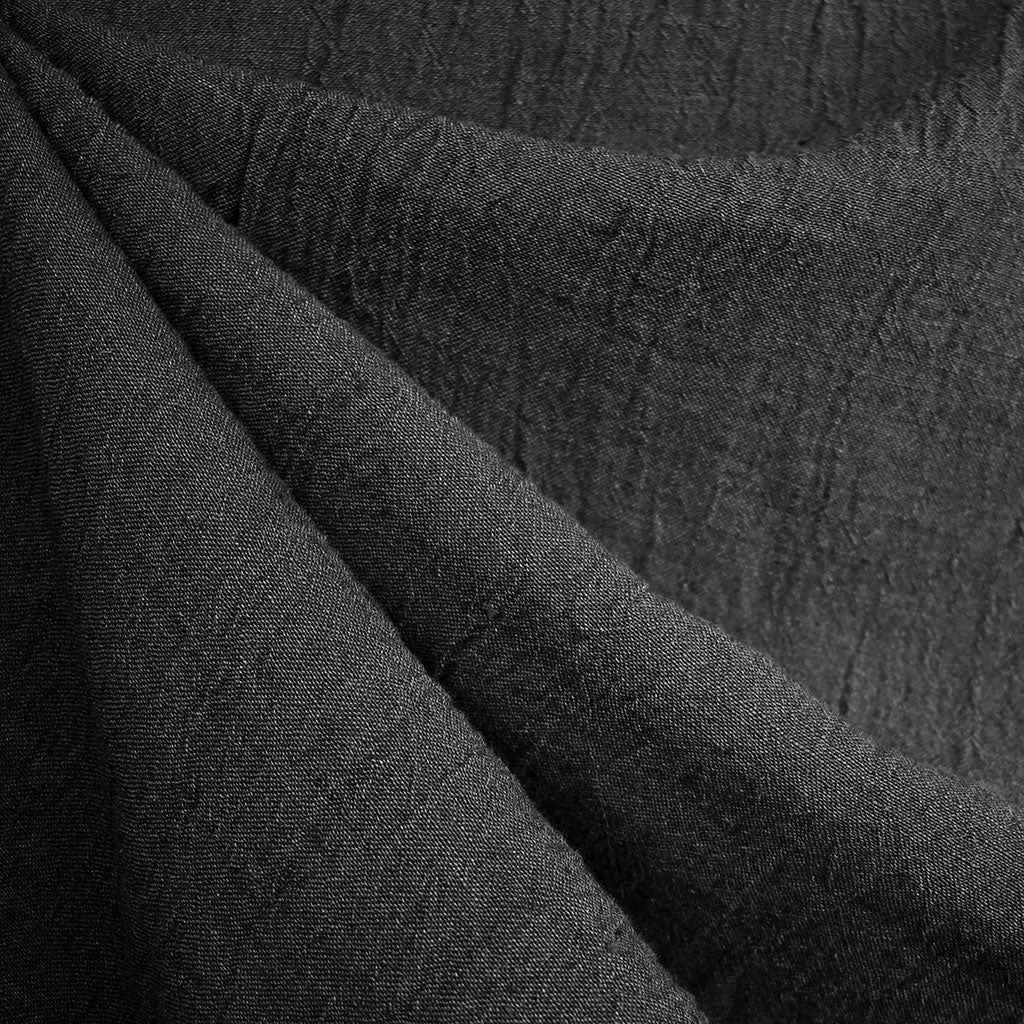 Crinkle Texture Yarn Dyed Linen Gauze Charcoal - Fabric - Style Maker Fabrics