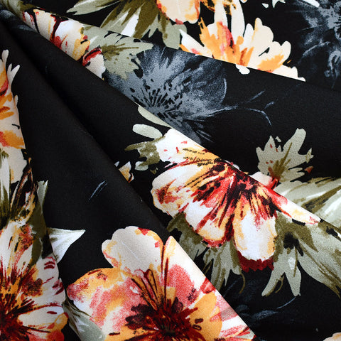 Autumn Floral Crepe Scuba Knit Black