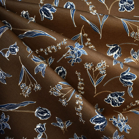 Botanical Floral Stretch Bottom Weight Sepia