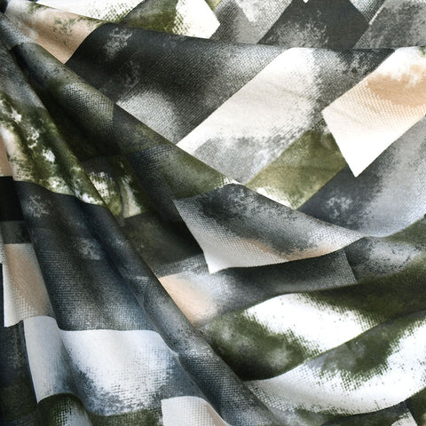 Abstract Watercolor Geometric Rayon Jersey Olive/Grey