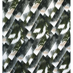 Abstract Watercolor Geometric Rayon Jersey Olive/Grey - Sold Out - Style Maker Fabrics