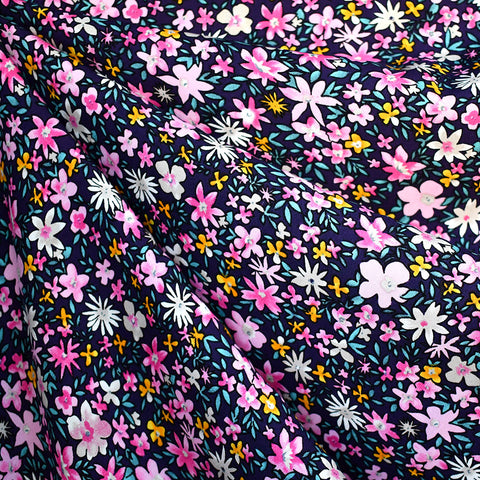 Romantic Ditsy Floral Rayon Poplin Navy/Pink