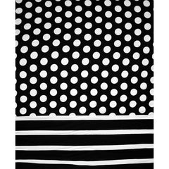 Dot Stripe Double Border Rayon Challis Black/White - Fabric - Style Maker Fabrics