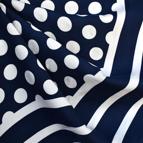 Dot Stripe Double Border Rayon Challis Navy/White