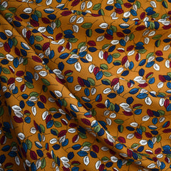 Falling Leaves Rayon Poplin Turmeric/Blue - Sold Out - Style Maker Fabrics