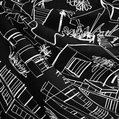 Architecture Line Drawing Rayon Twill Shirting Black/Vanilla - Fabric - Style Maker Fabrics