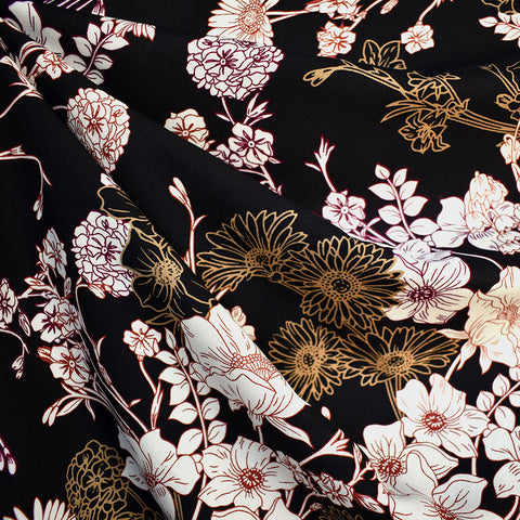 Botanical Floral Collage Rayon Challis Black
