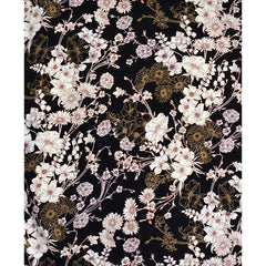 Botanical Floral Collage Rayon Challis Black - Sold Out - Style Maker Fabrics