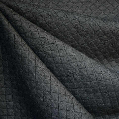 Diamond Quilted Double Knit Charcoal—Preorder