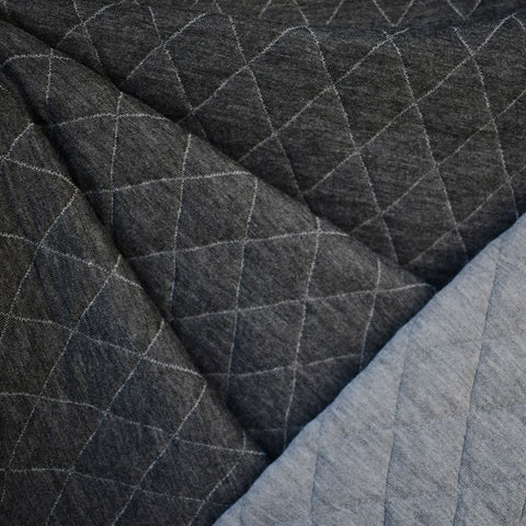 Reversible Plush Quilted Jersey Knit Grey/Charcoal—Preorder