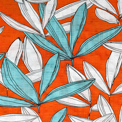 Retro Vibes Tropical Leaves Textured Voile Shirting Persimmon - Fabric - Style Maker Fabrics