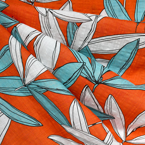 Retro Vibes Tropical Leaves Textured Voile Shirting Persimmon—Preorder