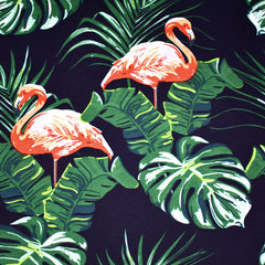Tropical Flamingo Rayon Blend Voile Navy - Fabric - Style Maker Fabrics