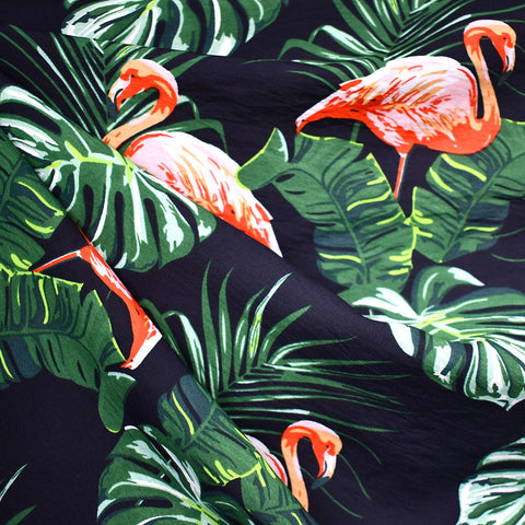 Tropical Flamingo Rayon Blend Voile Navy