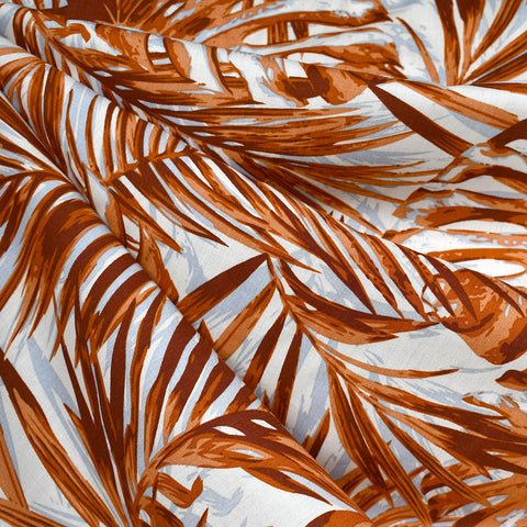 Graphic Tropical Leaves Rayon Poplin Rust/Cinnamon