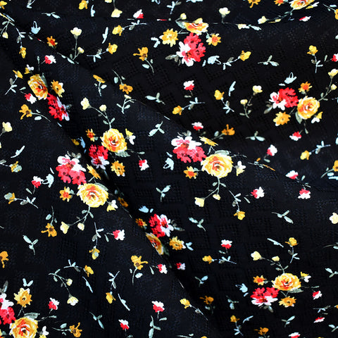 Fall Ditsy Floral Rayon Dobby Black/Multi