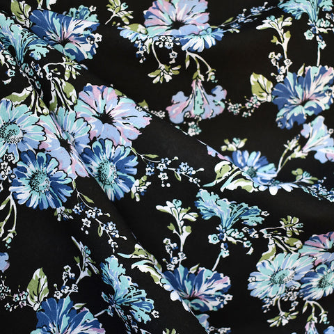 Painterly Floral Rayon Challis Black/Blue
