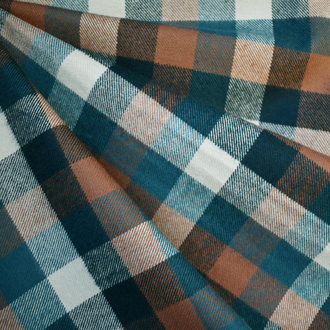 Cozy Cotton Flannel Grid Plaid Teal—Preorder