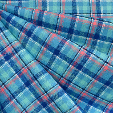 Mammoth Flannel Mini Bold Plaid Turquoise/Blue