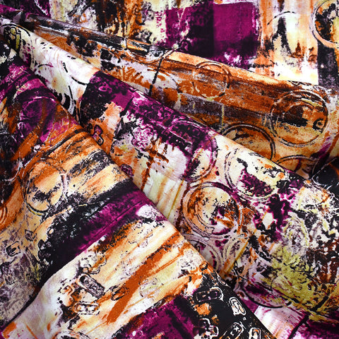 Warehouse District Distressed Collage Cotton Poplin Magenta/Orange