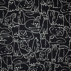 Japanese Sketchy Cats Canvas Black - Fabric - Style Maker Fabrics