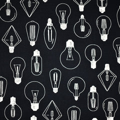 Japanese Light Bulb Canvas Black - Fabric - Style Maker Fabrics