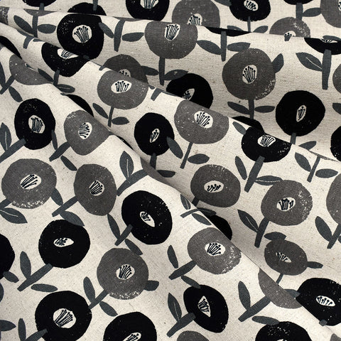 Japanese Mod Floral Canvas Black/Grey