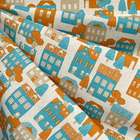 Japanese Village Houses Canvas Aqua/Orange