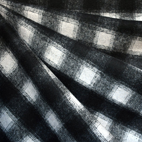 Box Plaid Wool Blend Coating Black/Vanilla