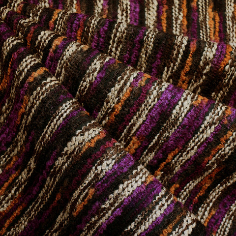 Chunky Yarn Stripe Novelty Knit Brown/Plum