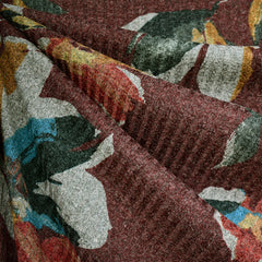 Abstract Floral Rib Sweater Knit Heather Wine - Fabric - Style Maker Fabrics
