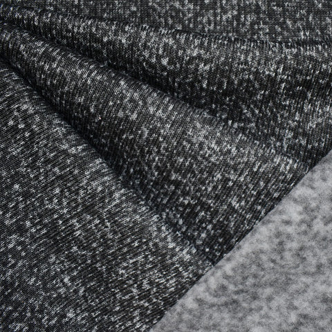 Designer Ultra Plush Tweed Knit Fleece Black/Grey