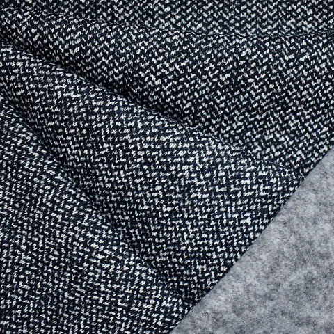 Designer Ultra Plush Herringbone Knit Fleece Navy/White