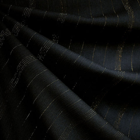 Metallic Stripe Rayon Crepe Black/Gold